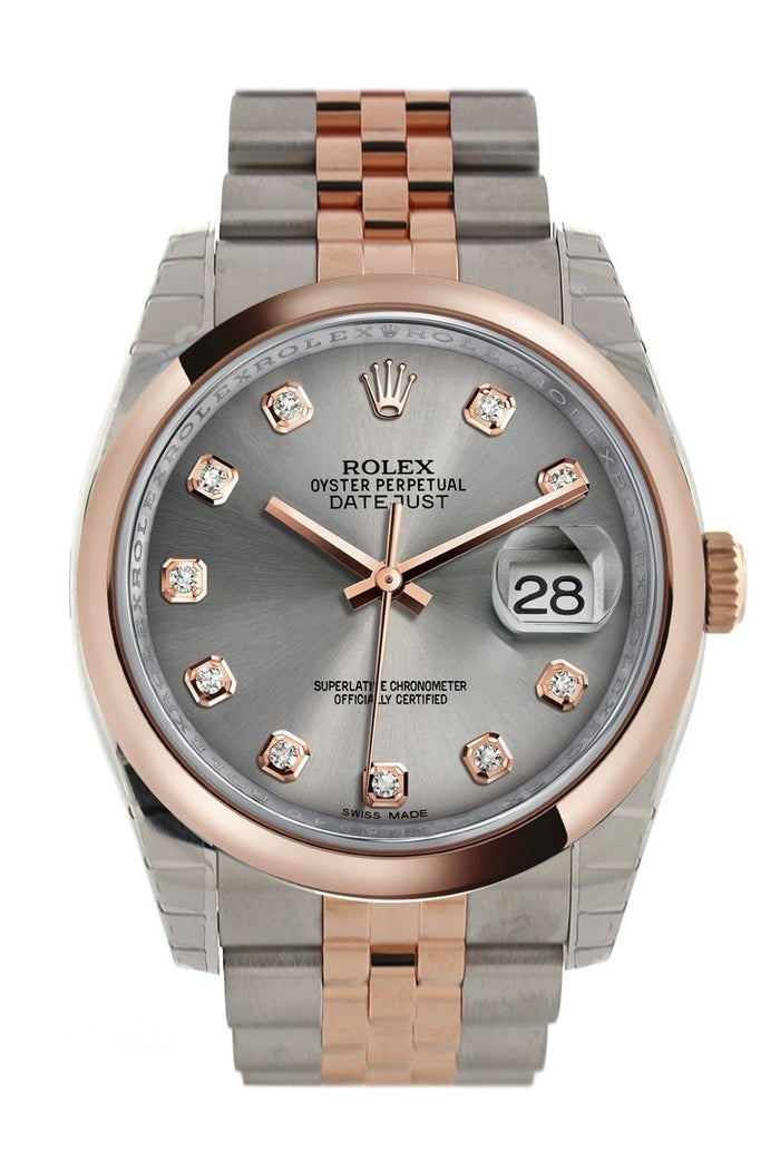 Rolex Datejust 36 Steel set with diamonds Dial Steel and 18k Rose Gold Jubilee Watch 116201