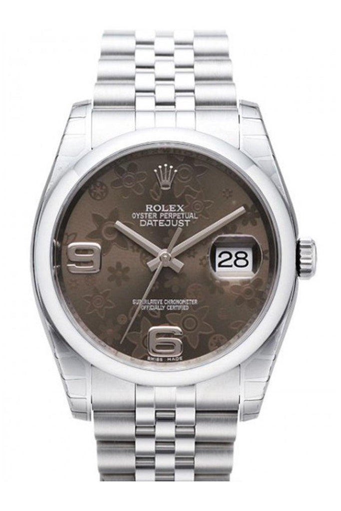 Rolex Datejust 36 Bronze Floral Stainless Steel Automatic Ladies Watch 116200 / None