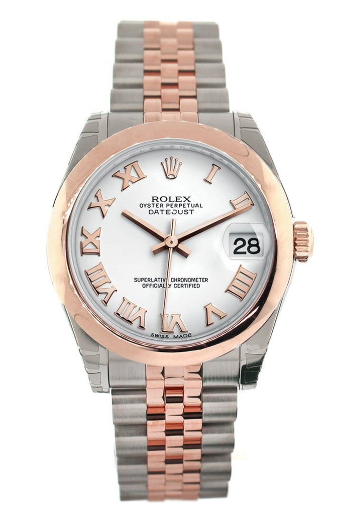 Rolex Datejust 31 White Roman Dial 18K Rose Gold Two Tone Jubilee Ladies Watch 178241