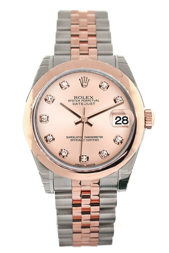 Rolex Datejust 31 Pink Diamond Dial 18K Rose Gold Two Tone Jubilee Ladies Watch 178241