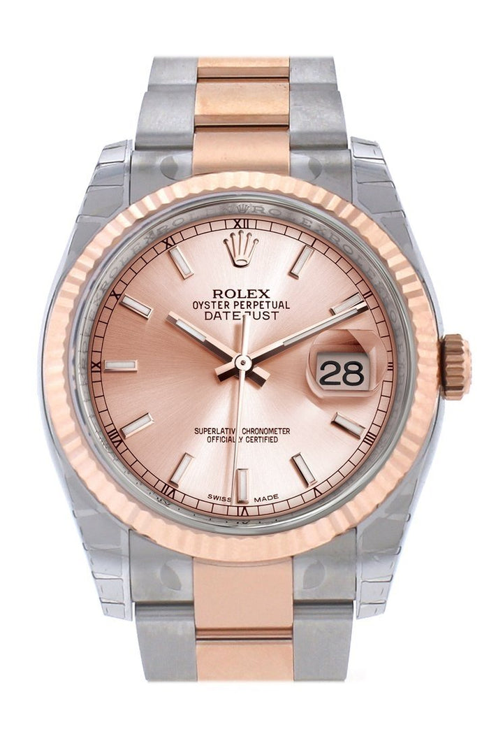 Rolex Datejust 36 Pink Dial Fluted Steel and 18k Rose Gold Oyster Watch 116231