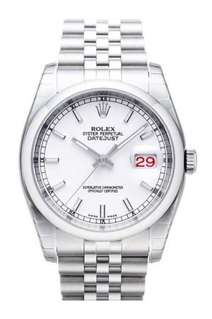 Rolex Datejust 36 White Dial Stainless Steel Jubilee Bracelet Mens Watch 116200 / None