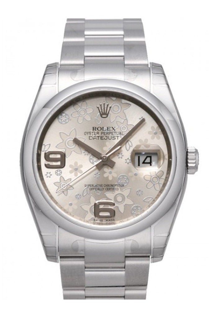 Rolex Datejust 36 Silver Floral Dial Stainless Steel Automatic Ladies Watch 116200 / None