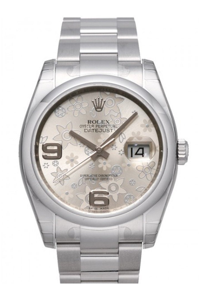 ROLEX 116200 Datejust 36 Silver Floral Mens Watch | WatchGuyNYC