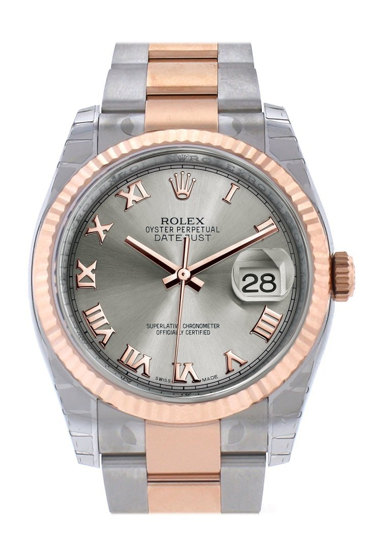 Rolex Datejust 36 Steel Roman Dial Fluted And 18K Rose Gold Oyster Watch 116231