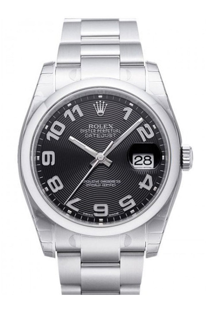 ROLEX 116200 Datejust 36 Black Concentric Mens Watch | WatchGuyNYC
