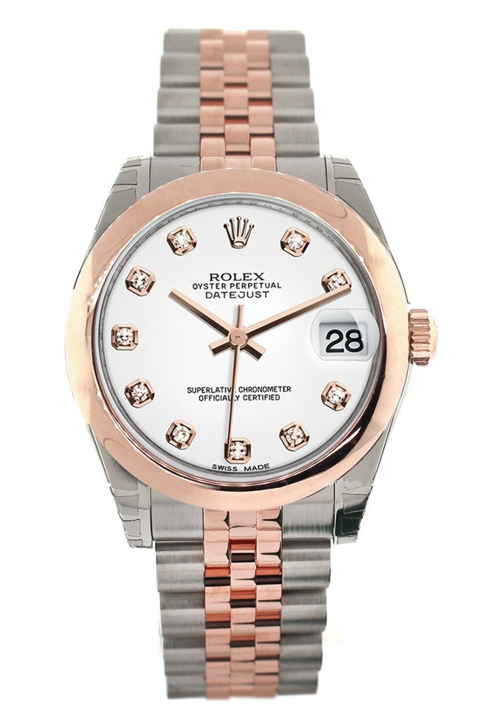 Rolex Datejust 31 White Diamond Dial 18K Rose Gold Two Tone Jubilee Ladies Watch 178241