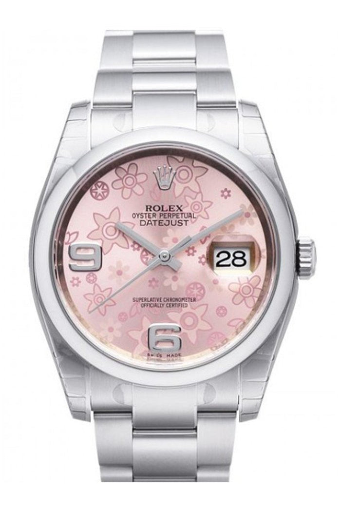 ROLEX 116200 Datejust 36 Pink Floral Mens Watch | WatchGuyNYC New York