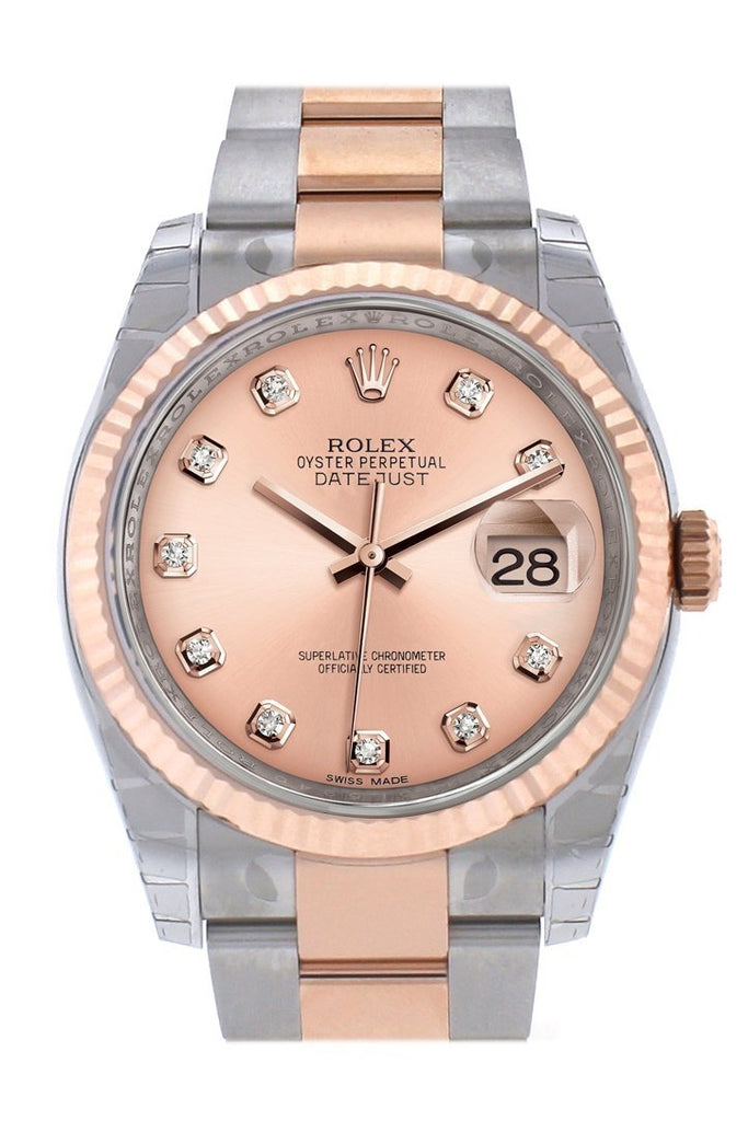 Rolex Datejust 36 Pink Set With Diamonds Dial Fluted Steel And 18K Rose Gold Oyster Watch 116231 /