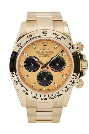 Rolex Cosmograph Daytona Champagne Dial Black Sub Dials 18K Yellow Gold Oyster Mens Watch 116508