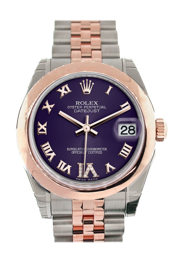 Rolex Datejust 31 Purple Roman Large Vi Set With Diamond Dial 18K Rose Gold Two Tone Jubilee Ladies