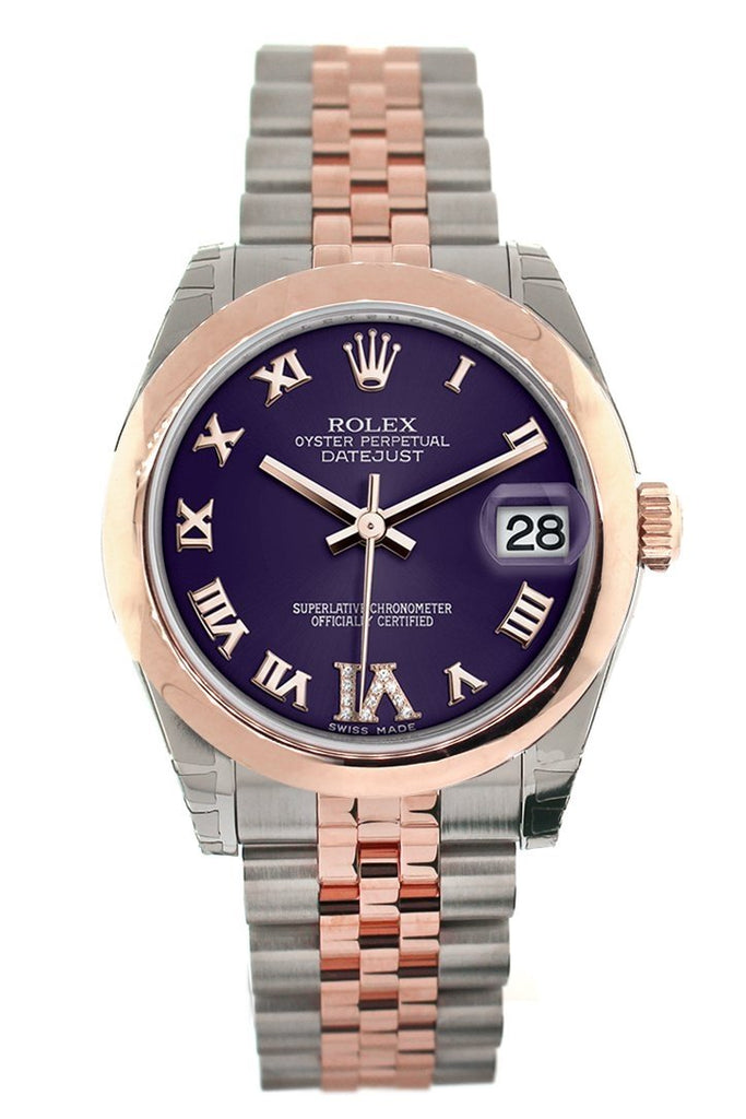 Rolex Datejust 31 Purple Roman Large VI set with Diamond Dial 18K Rose Gold Two Tone Jubilee Ladies Watch 178241