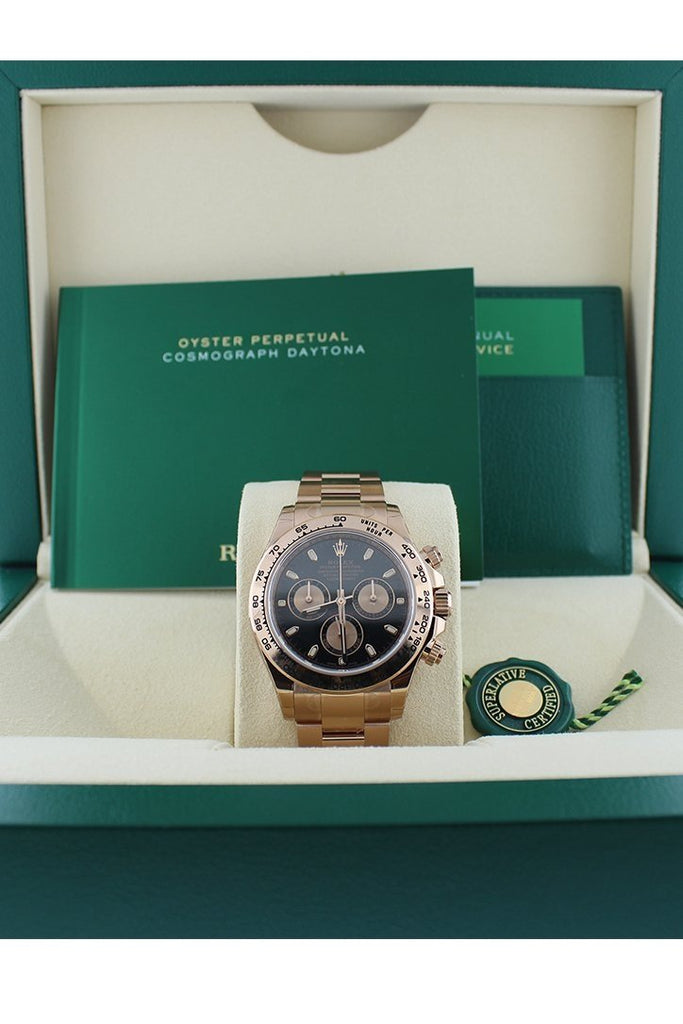 Rolex Cosmograph Daytona Black Dial 18K Everose Gold Rolex Oyster Automatic Men's Watch 116505