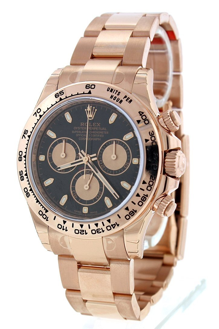 Rolex Cosmograph Daytona Black Dial 18K Everose Gold Oyster Automatic Mens Watch 116505