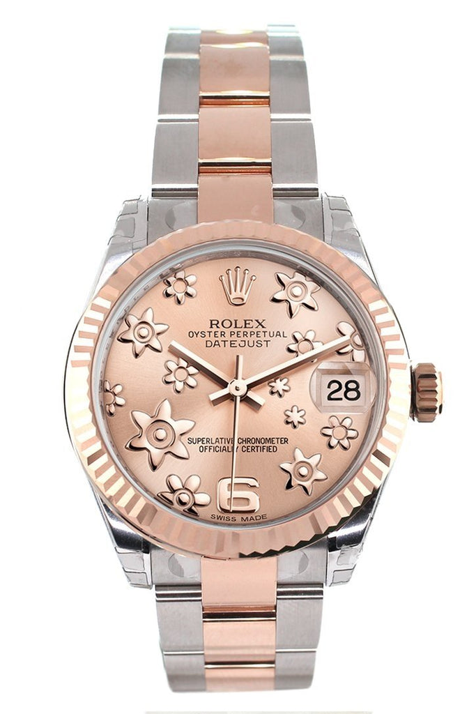 Rolex Datejust 31 Pink Raised Floral Motif Dial Fluted Bezel 18K Rose Gold Two Tone Ladies Watch 178271