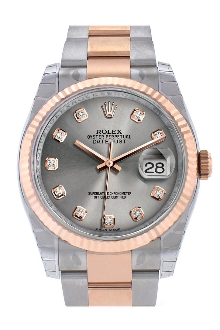 Rolex Datejust 36 Steel Set With Diamonds Dial Fluted And 18K Rose Gold Oyster Watch 116231 / None
