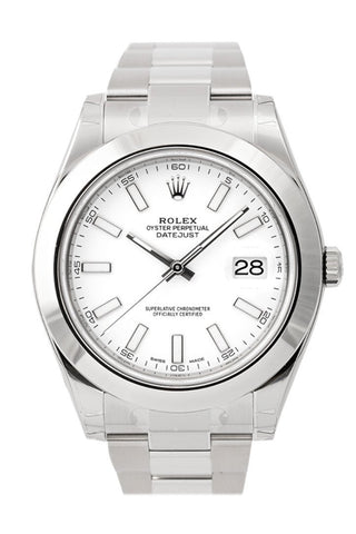 ROLEX 116300 Datejust II 41 White Dial Steel Oyster Men | WatchGuyNYC