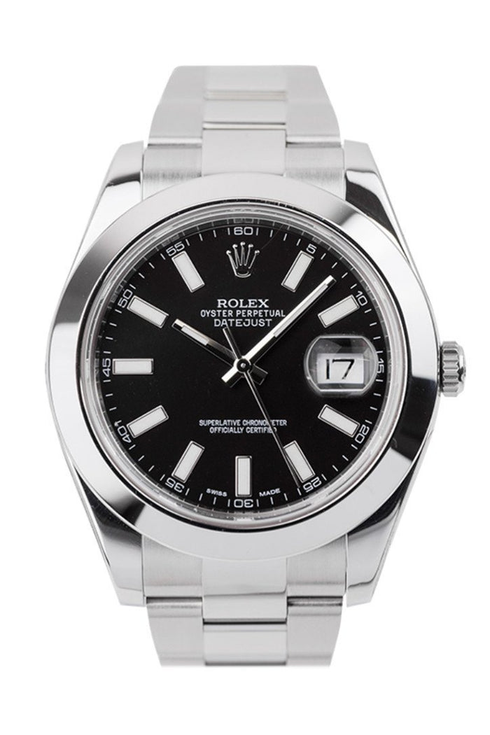 ROLEX 116300 Datejust II 41 Black Dial Steel Oyster Men | WatchGuyNYC