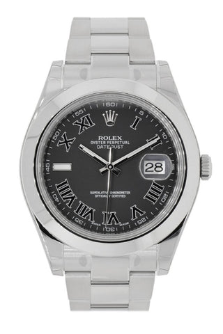ROLEX 116300 Datejust II 41 Black Roman Dial Steel Men | WatchGuyNYC
