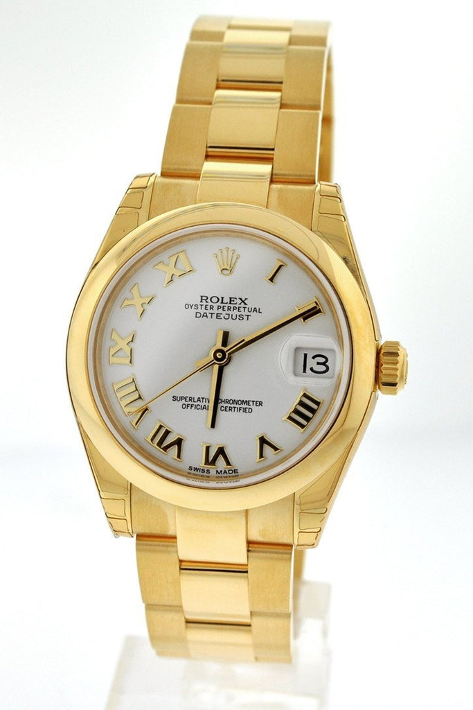 Rolex Datejust 31 White Roman Dial 18K Yellow Gold Ladies Watch 178248