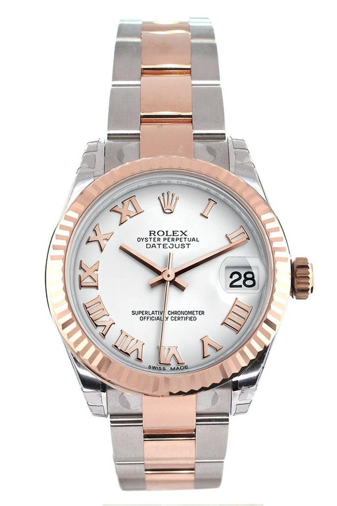 Rolex Datejust 31 White Roman Dial Fluted Bezel 18K Rose Gold Two Tone Ladies Watch 178271