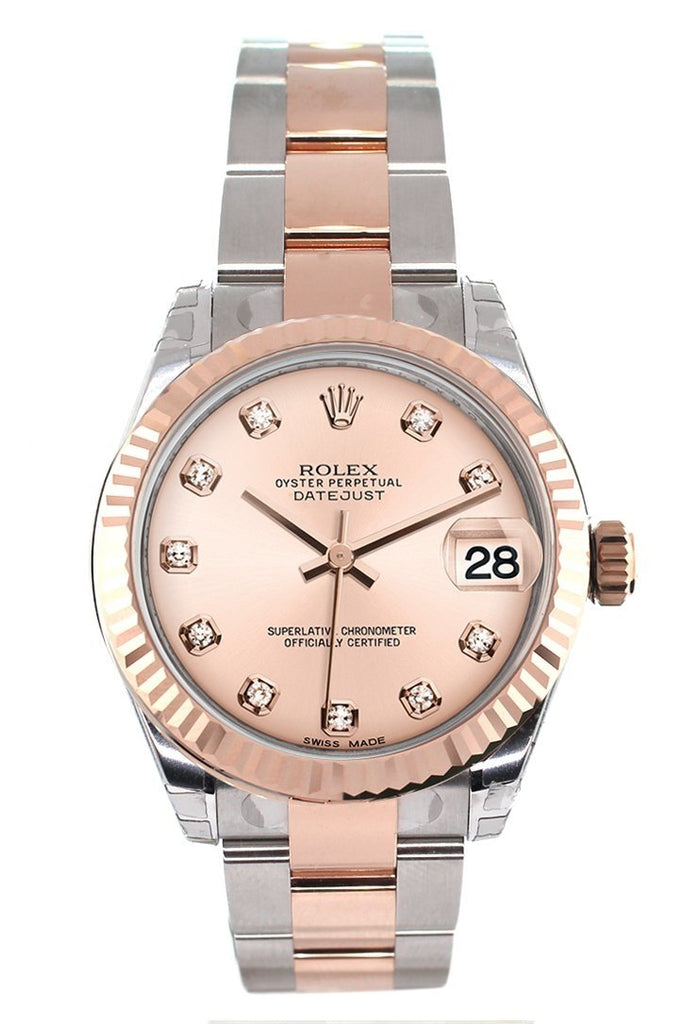 Rolex Datejust 31 Pink Diamond Dial Fluted Bezel 18K Rose Gold Two Tone Ladies Watch 178271