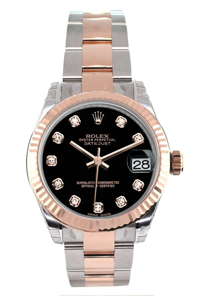 Rolex Datejust 31 Black Diamond Dial Fluted Bezel 18K Rose Gold Two Tone Ladies Watch 178271