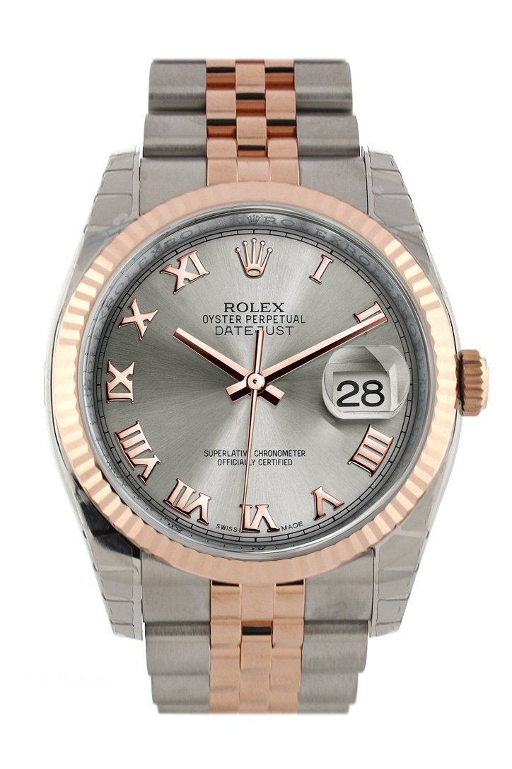 Rolex Datejust 36 Steel Roman Dial Fluted And 18K Rose Gold Jubilee Watch 116231