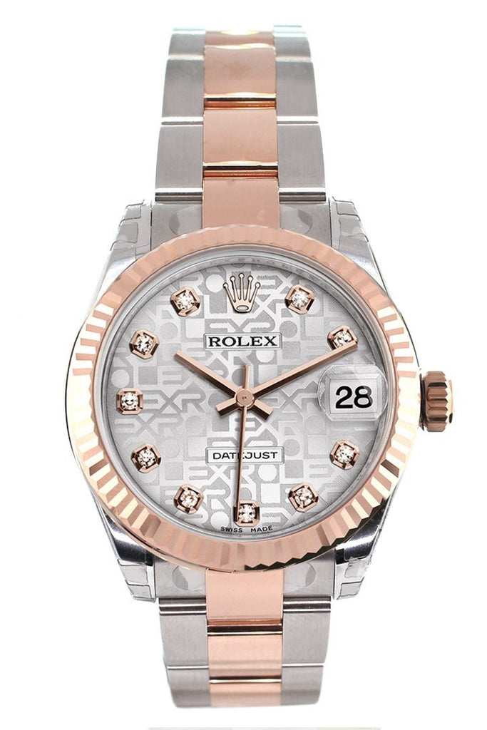 Rolex Datejust 31 Silver Jubilee Diamond Dial Fluted Bezel 18K Rose Gold Two Tone Ladies Watch 178271