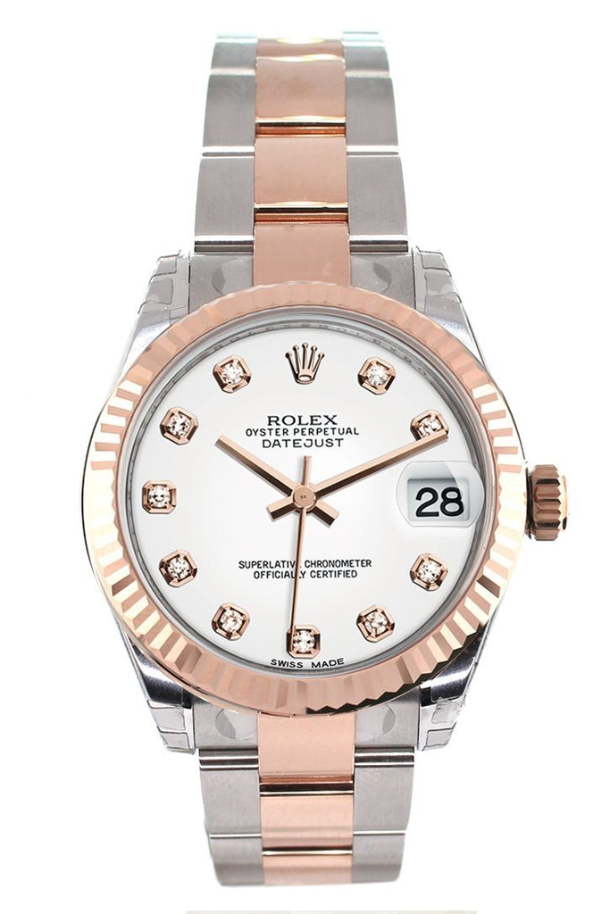 Rolex Datejust 31 White Diamond Dial Fluted Bezel 18K Rose Gold Two Tone Ladies Watch 178271