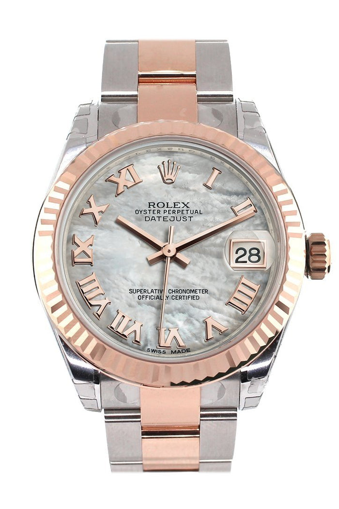 Rolex Datejust 31 White Mother of Pearl Roman Dial Fluted Bezel 18K Rose Gold Two Tone Ladies Watch 178271