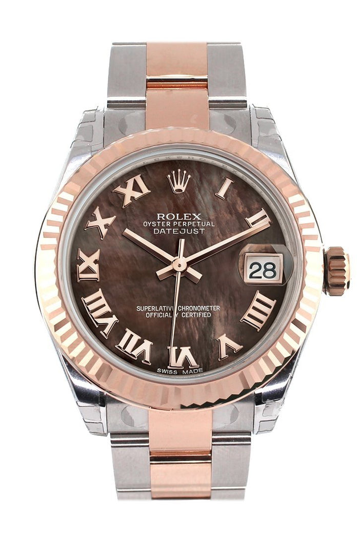 Rolex Datejust 31 Black Mother of Pearl Roman Dial Fluted Bezel 18K Rose Gold Two Tone Ladies Watch 178271