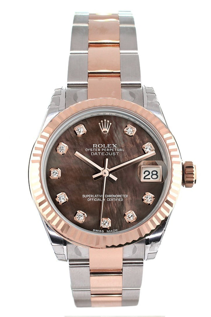 Rolex Datejust 31 Black Mother of Pearl Diamond Dial Fluted Bezel 18K Rose Gold Two Tone Ladies Watch 178271