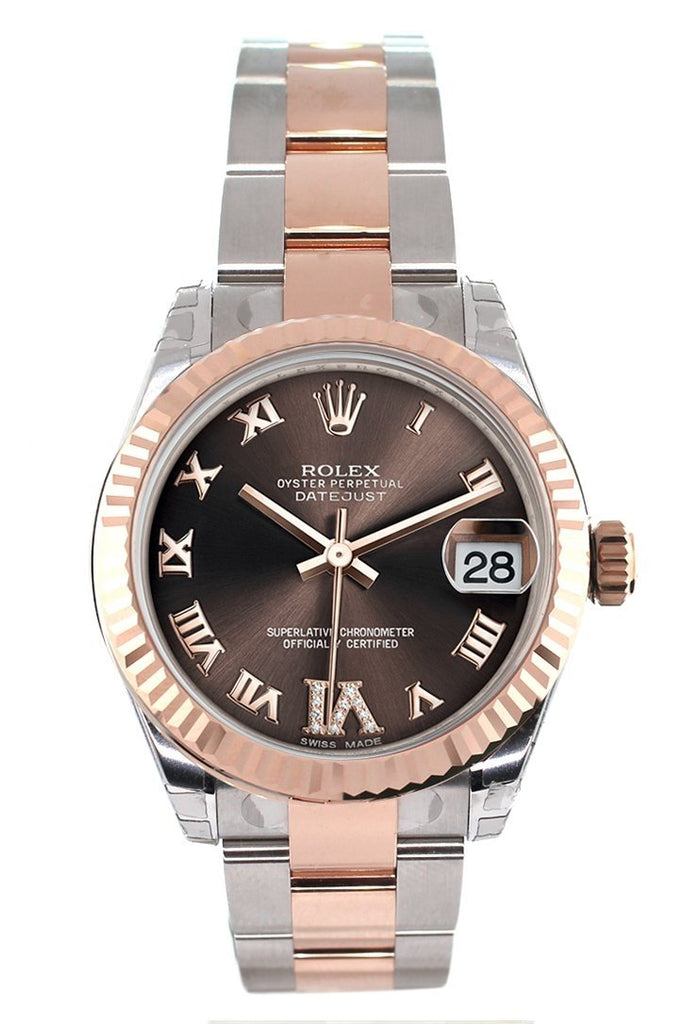 Rolex Datejust 31 Chocolate Roman Large VI set with Diamond Dial Fluted Bezel 18K Rose Gold Two Tone Ladies Watch 178271