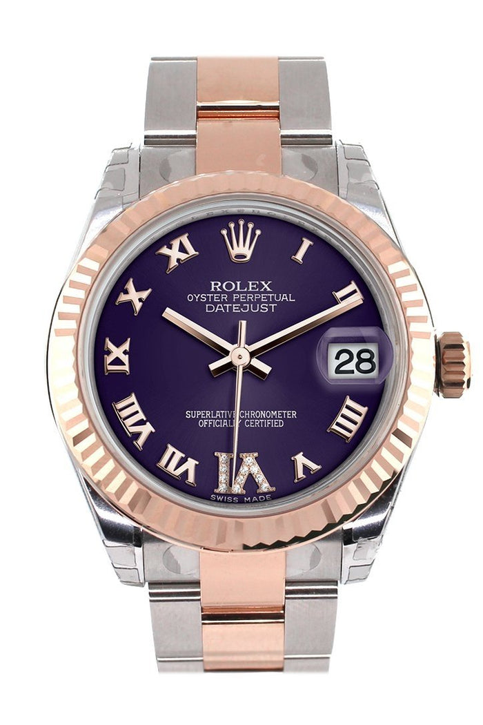 Rolex Datejust 31 Purple Roman Large VI set with Diamond Dial Fluted Bezel 18K Rose Gold Two Tone Ladies Watch 178271
