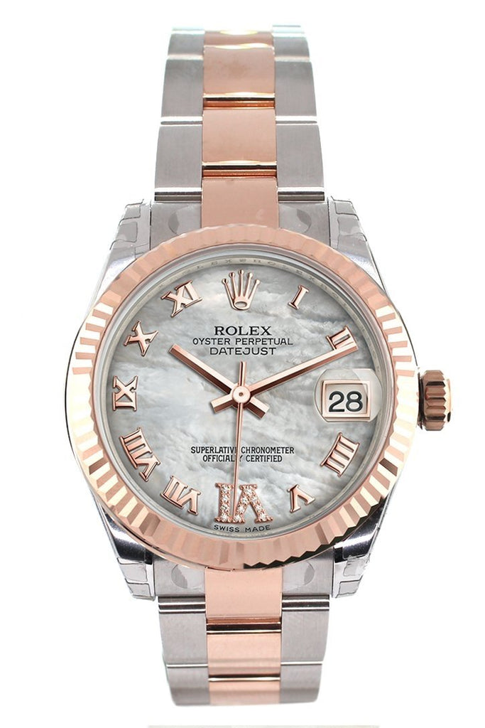 Rolex Datejust 31 White Mother of Pearl Roman Large VI set with Diamond Dial Fluted Bezel 18K Rose Gold Two Tone Ladies Watch 178271