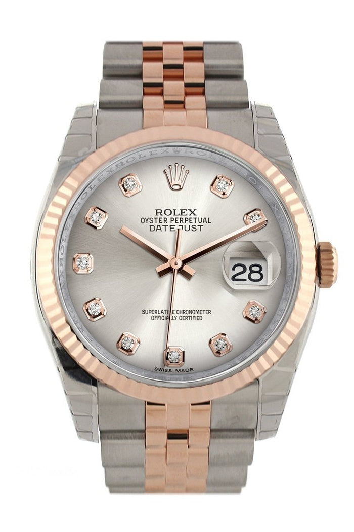 Rolex Datejust 36 Silver set with diamonds Dial Fluted Steel and 18k Rose Gold Jubilee Watch 116231