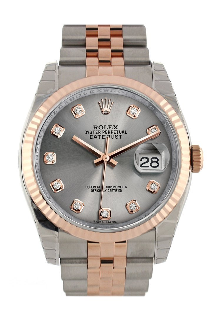 Rolex Datejust 36 Steel Set With Diamonds Dial Fluted And 18K Rose Gold Jubilee Watch 116231