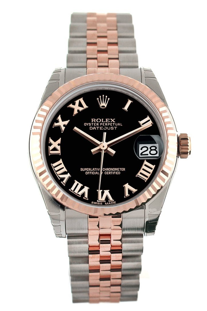 Rolex Datejust 31 Black Roman Dial Fluted Bezel 18K Rose Gold Two Tone Jubilee Ladies Watch 178271