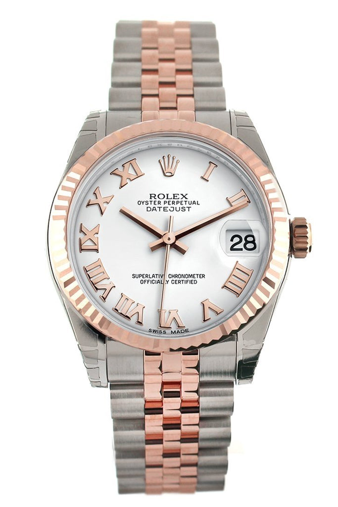 Rolex Datejust 31 White Roman Dial Fluted Bezel 18K Rose Gold Two Tone Jubilee Ladies Watch 178271