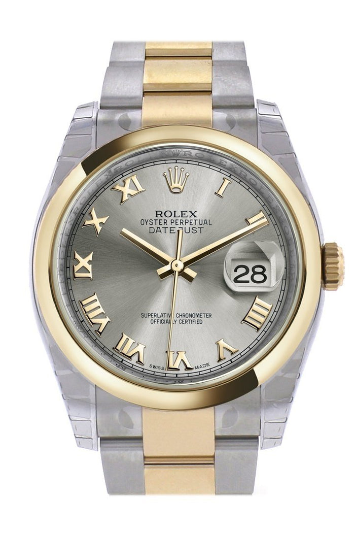 Rolex Datejust 36 Steel Roman 18k Gold Two Tone Oyster Watch 116203