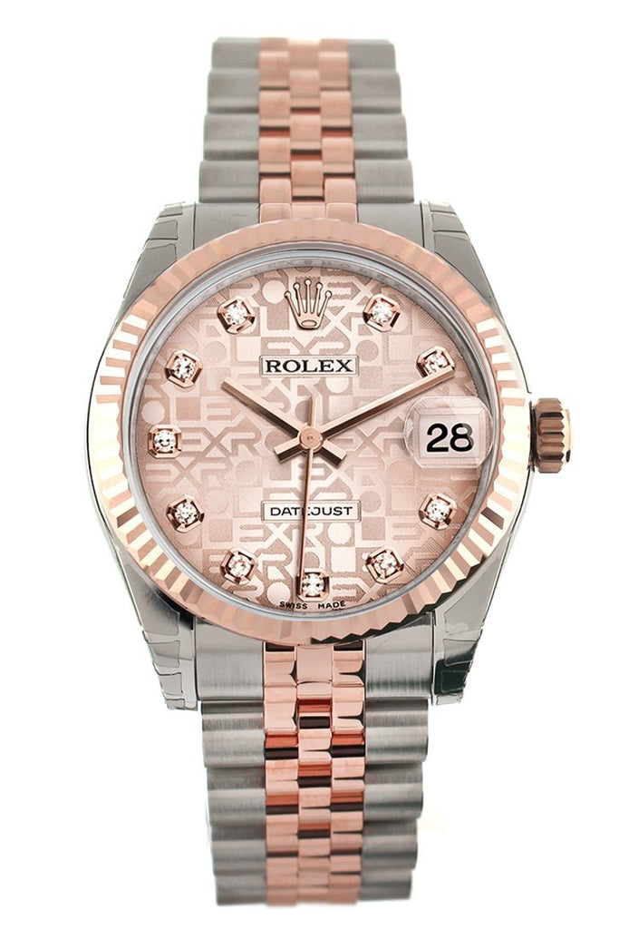 Rolex Datejust 31 Pink Jubilee Diamond Dial 18K Rose Gold Two Tone Ladies Watch 178271