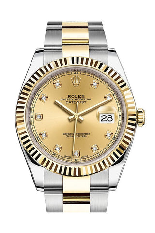 Rolex Datejust 41 Champagne Diamond Dial Steel and 18K Yellow Gold Oyster Men's Watch 126333