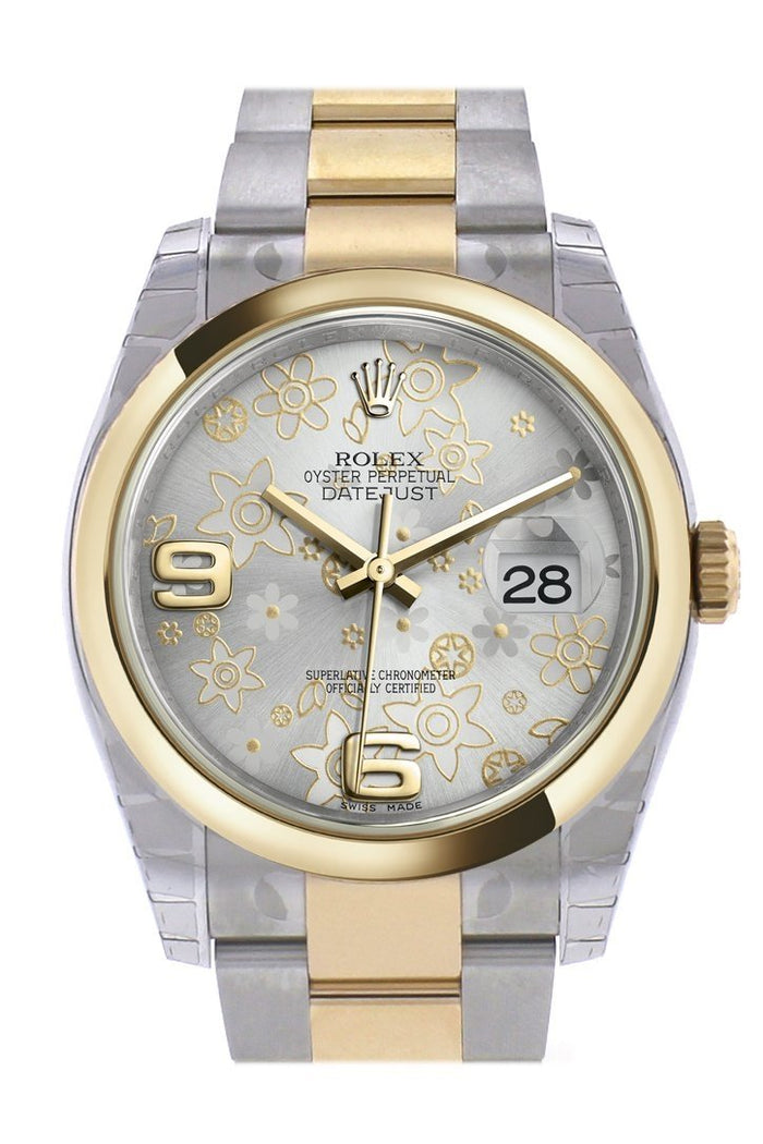 Rolex Datejust 36 Silver floral motif Dial 18k Gold Two Tone Oyster Watch 116203