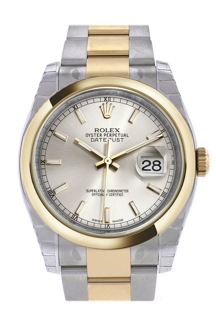 Rolex Datejust 36 Silver Dial 18k Gold Two Tone Oyster Watch 116203