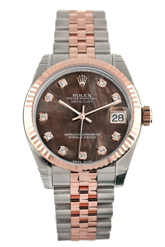Rolex Datejust 31 Black Mother of Pearl Diamond Dial Fluted Bezel 18K Rose Gold Two Tone Jubilee Ladies Watch 178271