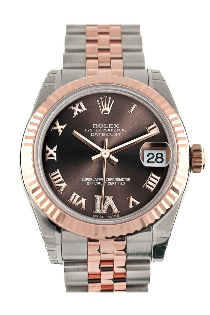 Rolex Datejust 31 Chocolate Roman Large VI set with Diamond Dial Fluted Bezel 18K Rose Gold Two Tone Jubilee Ladies Watch 178271