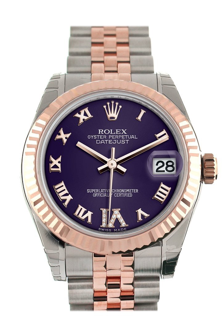 Rolex Datejust 31 Purple Roman Large Vi Set With Diamond Dial Fluted Bezel 18K Rose Gold Two Tone