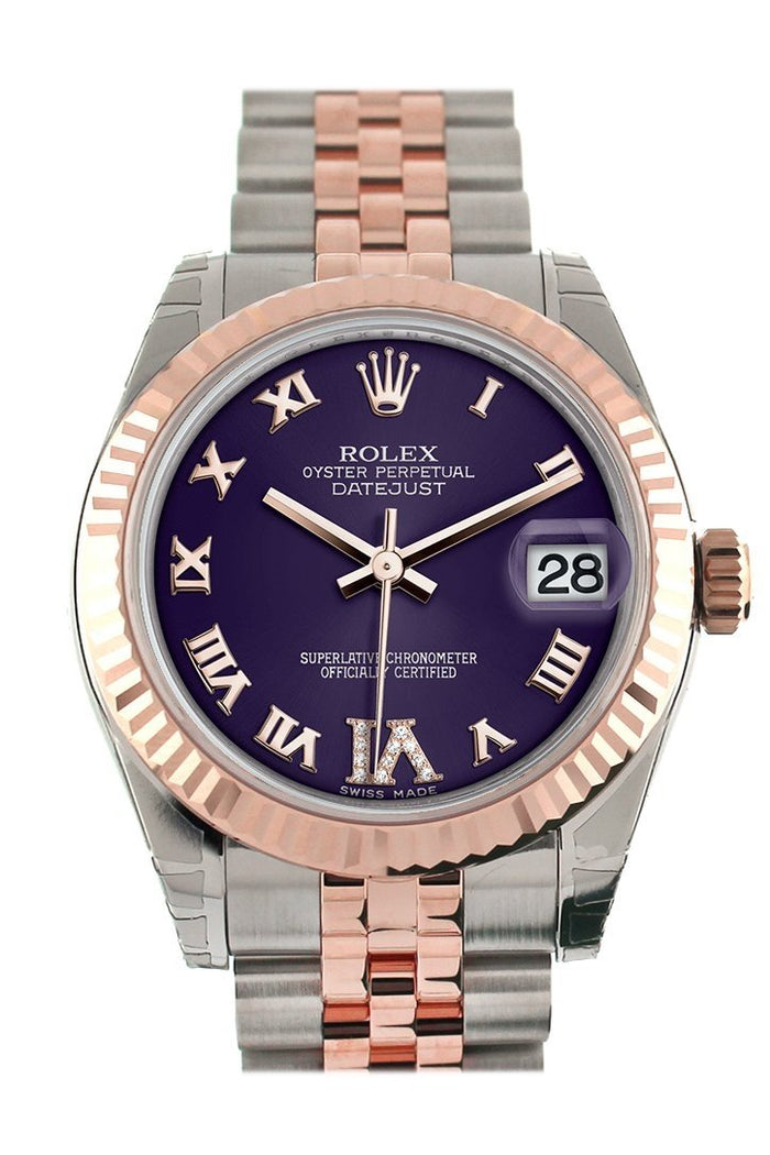 Rolex Datejust 31 Purple Roman Large VI set with Diamond Dial Fluted Bezel 18K Rose Gold Two Tone Jubilee Ladies Watch 178271