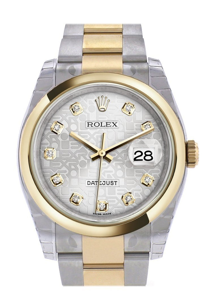 Rolex Datejust 36 Silver Jubilee Diamond Dial 18k Gold Two Tone Oyster Watch 116203